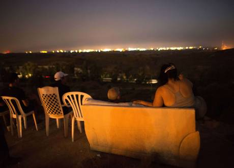 Citizens of Southern Israel gather to watch and enjoy the Gaza slaughter