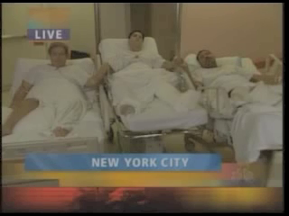 William Rodriguez, Arthur Del Bianco and coleague in hospital wounded in the underground blast. They were three floors underground.