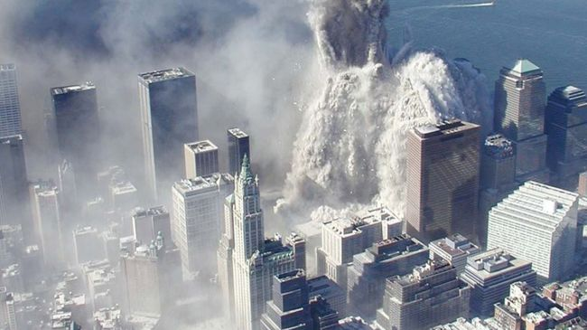 An aerial view of the destruction of the World Trade Centre. September 11th, 2001.
