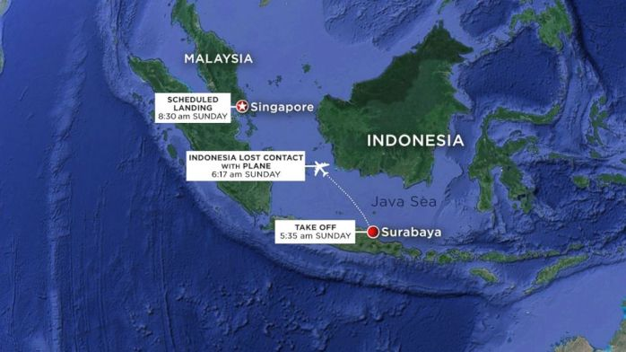 Map shows the Flight path of Air Asia 8501