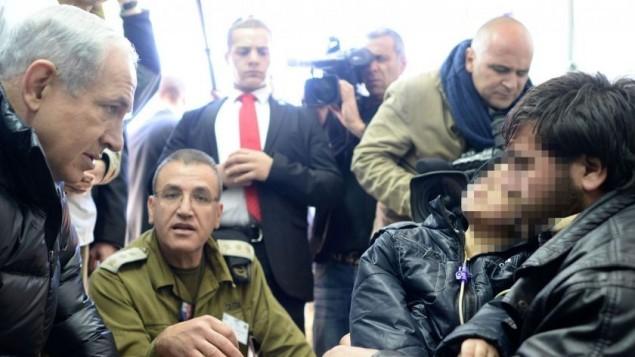 Israeli PM makes morale raising visit to Syrian terrorist in Israeli hospital.