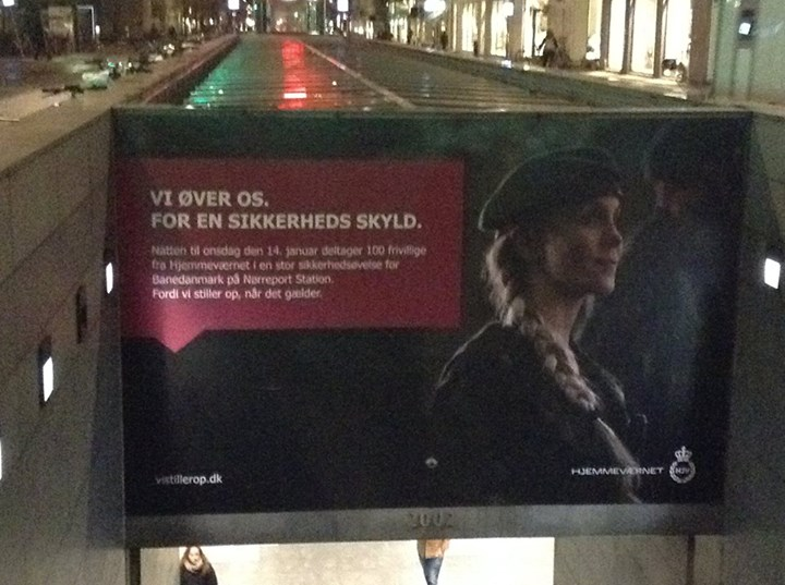 The sign that informs Copenhagen residents of the drill at Nørreport Station exactly a month earlier.