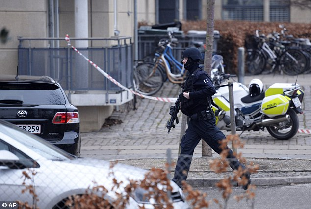 Police in Copenhagen following shooting.