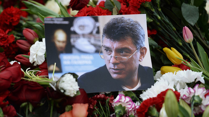 Shrine to slain Russian opposition figure Boris Nemtsov in Moscow.