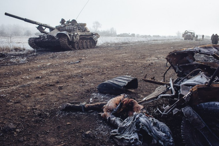 Destroyed Ukraine military hardware and the bodies of slain soldiers near Debaltseve. February, 2015.