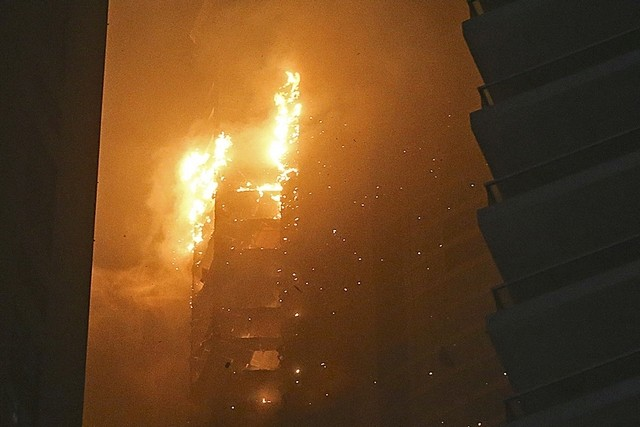 The Towering Inferno in the Marina Torch skyscraper.