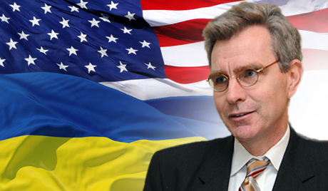 Geoffrey Pyatt the US ambassador, willtry and keep the war going in line with Neocon precepts regarding inventing reality. An honest portrait would actually show him with an IMF flag, that is where the real loyalties lie it seems.