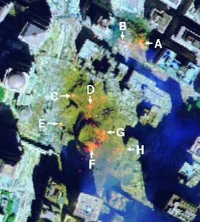 Hotspots on US Government imagery. September 16th, 2001.