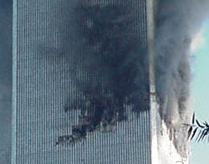 The North Tower on fire prior to it's destruction. The North tower fire lasted 102 minutes.