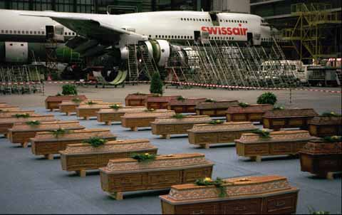 Coffins await the return trip to Europe following the Luxor Massacre of November 1997.