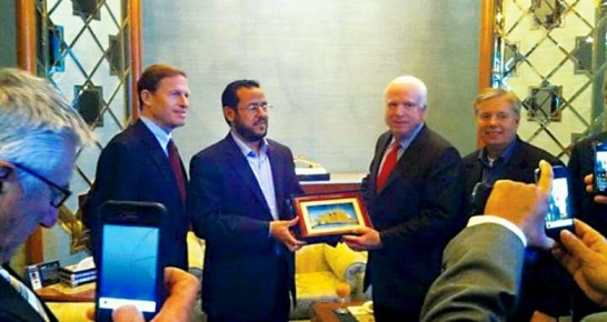 You haven't made it big as a leader of Jihad until you meet with the American Emir-Senator John McCain greets Belhaj following the ouster of Gaddafi.