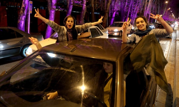 Pro Western Iranians of North Tehran celebrate nuclear deal last night.