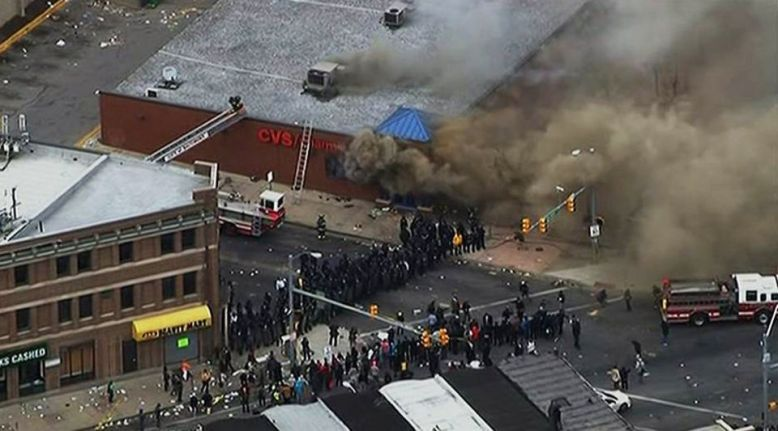 Fires in Baltimore, Maryland following the funeral  of Freddie Gray .