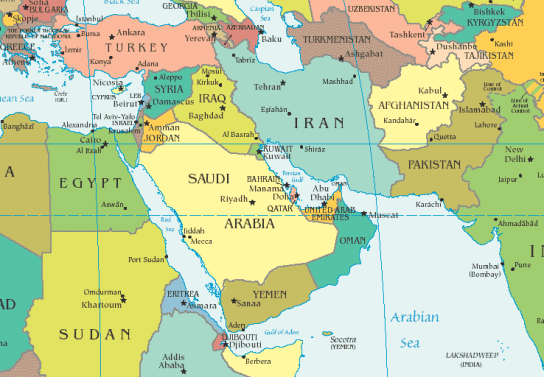 Political Map of the Middle East with Libya cut off at the far left.