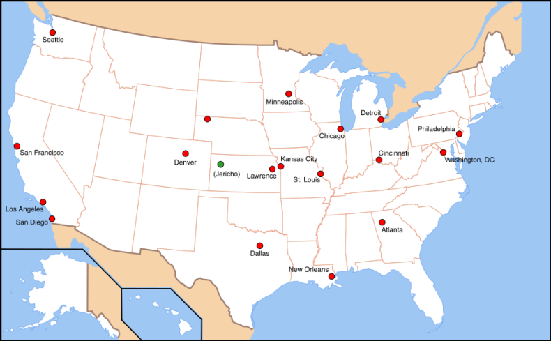 A Map of the sites attacked in the Jericho scenario.