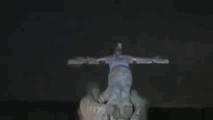 Cross is hoisted.
