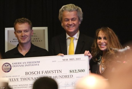 Euro Islamophobe Politician Geert Wilders, Pam Geller and the cartoon competition winner just prior to supposed attack.