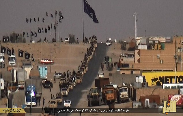 IS Victory parade in West Anbar, Iraq, May 2015 the US Air Force inexplicably failed to notice this event.