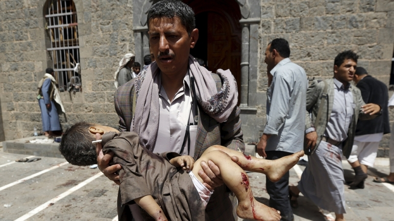 The Aftermath of one of several attacks on Shia Mosques in Yemen on Friday, May 22nd, 2015.