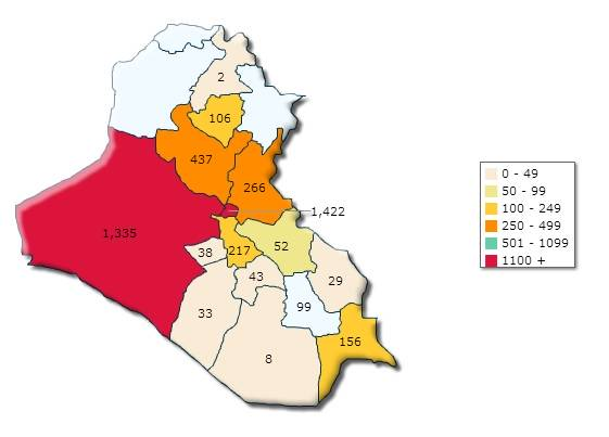 Al Anbar is the massive red section to the left (West) of Iraq.