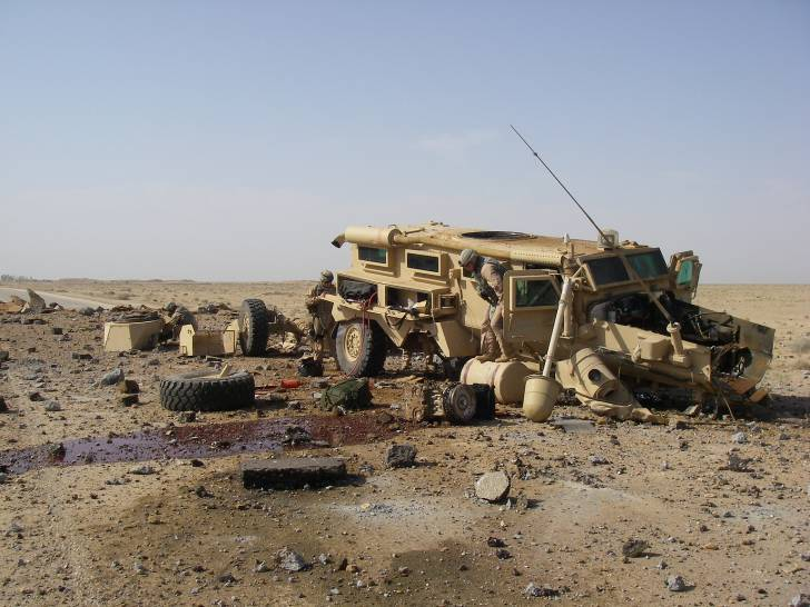 Aftermath of massive roadside bomb in al Anbar during the US Occupation.