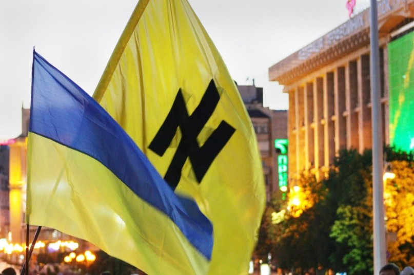 The Nazi style Azov flag alongside that of the Ukraine.