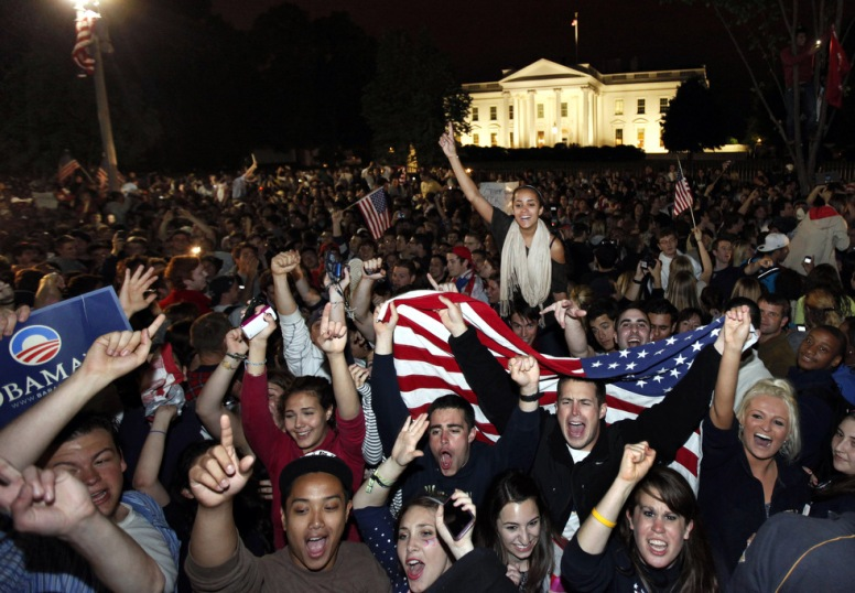 Elated Americans cheer the death of bin laden ten years late.