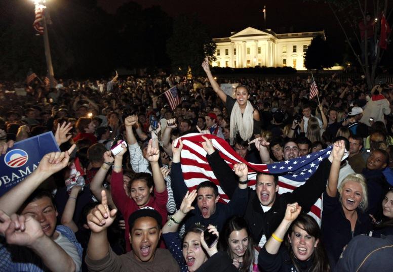 Elated Americans cheer the death of bin laden ten years late.