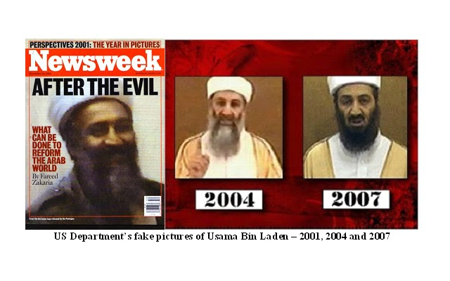 There were bin laden fakes-plural employed after 2001, these appear to be three different fake bin Ladens from What Really Happened.