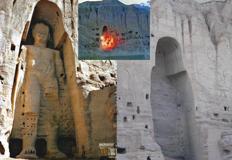 The Bamiyan Bhuddas pre and during the dynamite of March 2001.
