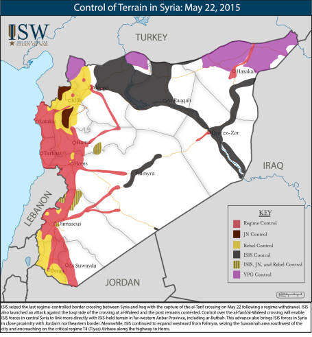 The lines of control in Syria as of May 22nd, 2015. The IS group it can be seen, holds nowhere near 50 percent.
