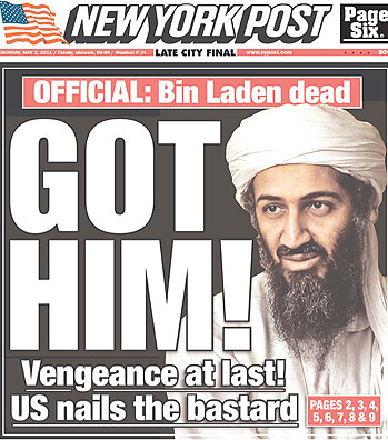 The controlled media report the faux second death of Osama bin Laden.