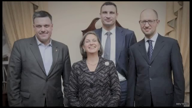 Assistant Secretary of State Victoria Buland with Yatseniuk, Klitchko, and Oleh Tyahnybok of Svonoda.