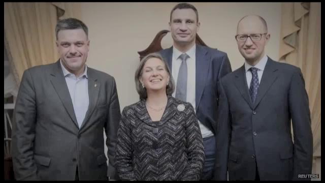 Assistant Secretary of State Victoria Buland with Yatseniuk, Klitchko, and Oleh Tyahnybok of Svonoda.