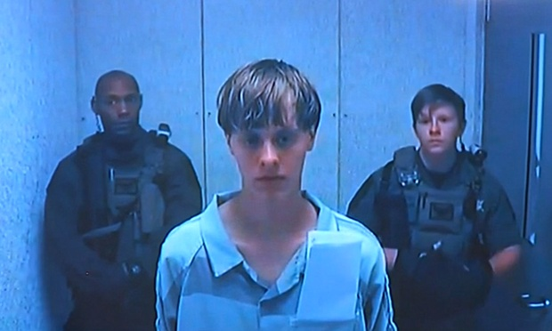 Dylann Roof speaks via a video link during a bail hearing in Charleston.