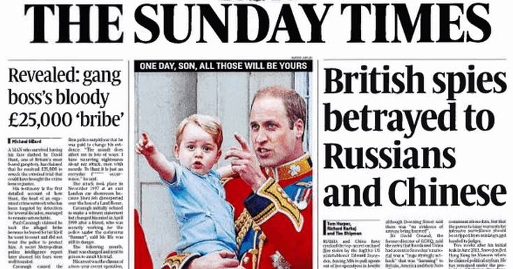 The dishonest and laughable Sunday Times front page. Snowden story.