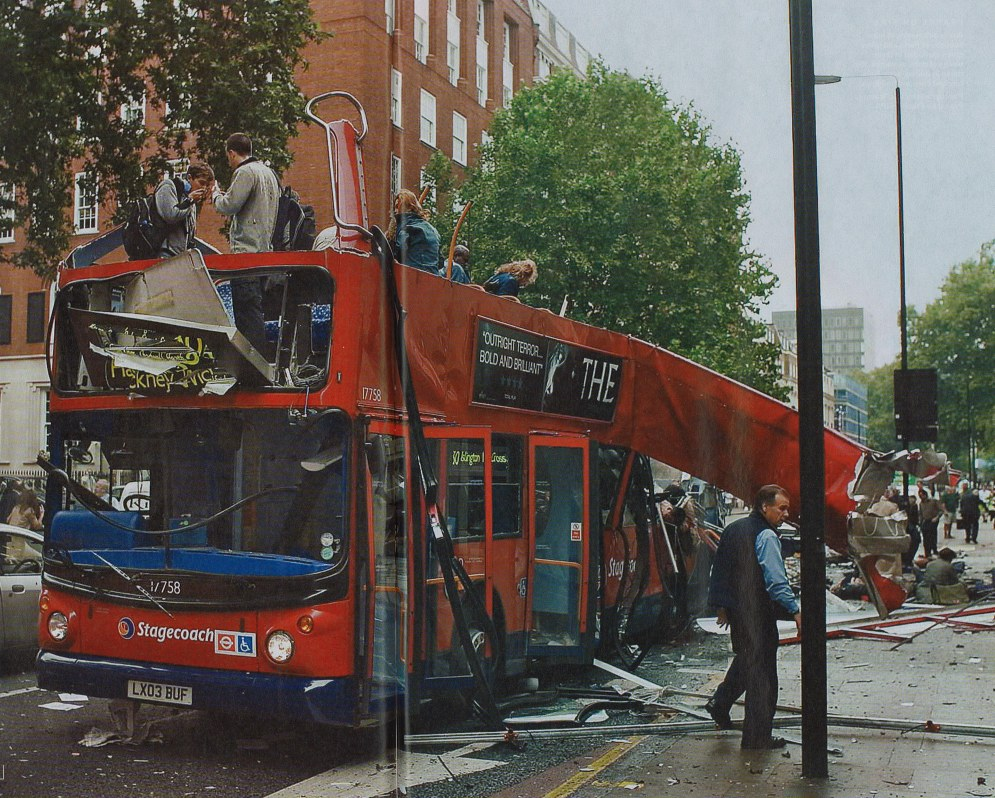 The remains of the bus struck by an explosion on July 7th 2005 in Tavistock Square.