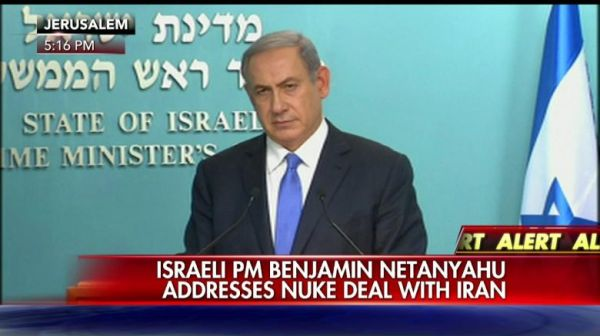 The Israeli Prime Minister during his customary hysterical speech in response to the deal.