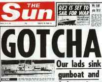 The response form the Sun o the sinking of the general belgrano during the 1982 Falklands war.