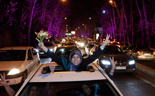 Iranians celebrate the Nuclear deal and the detente with the West.