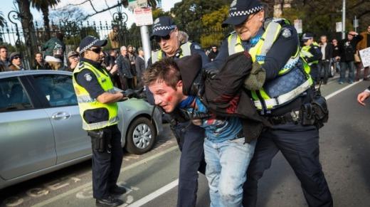 Participants in the futile Melbourne fracas.