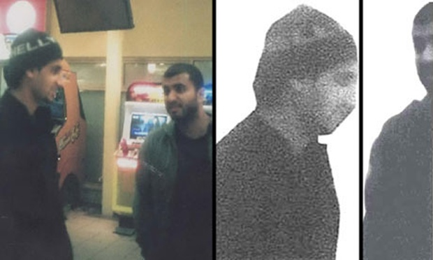 Surveillance image of Shehzhad Yanweer and Mohammed Siddique Khan the image on the right show what MI5 sent to the USA in order to protect Khan's identity.