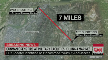 A CNN graphic shows the two alleged attack sites in Chatanooga, 7 miles apart.