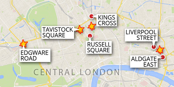 Map shows the attacks as outlined in the fficial narrative in central London.