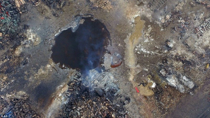 Aerial view of the crater caused by the Tianjin blasts.