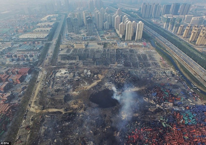 Total devastation and the fires are still burning. Aftermath of Tianjin blasts.