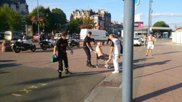 Off duty US soldier treated for sueprficial wounds as part of the pathetique Amsterdam Paris train psyop.
