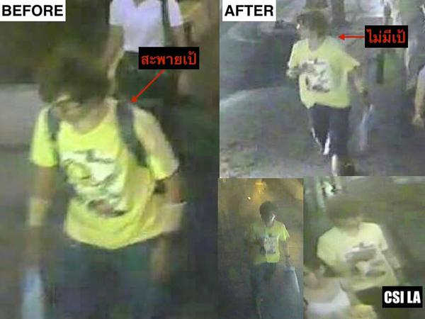 Stills from CCTV footage showing the person Thai authorities allege planted the bomb in Bangkok.