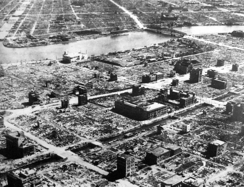 This was Tokyo after Operation Meeting house left 100,000 dead in a single raid on March 9-10, 1945. The firebombs killed more than the Nuclear attacks.