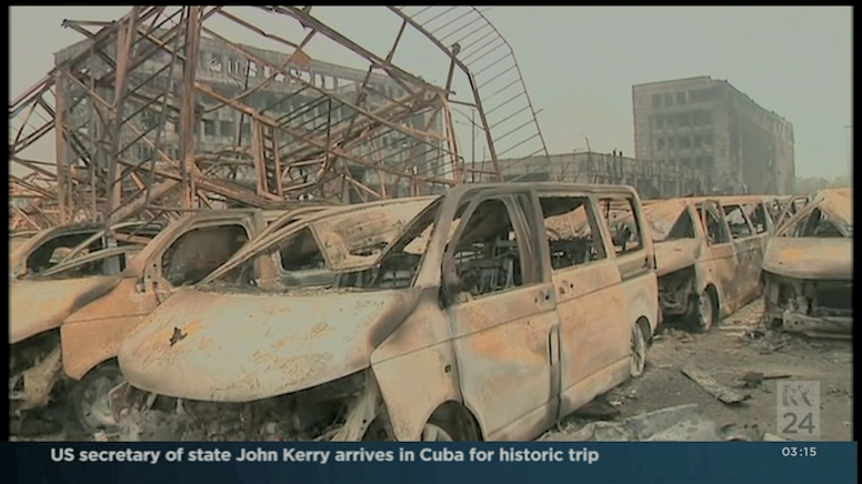 The cars in Tianjin show the signs of having been struck by a Thermal blast associated with a Nuclear blast, the premature corrosion giving a rusted appearance is one strong tell-tale sign.